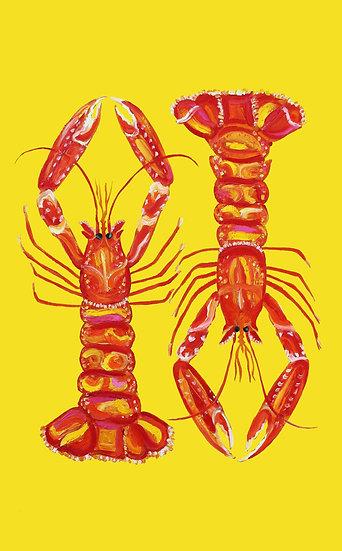 Lobsters tea towel
