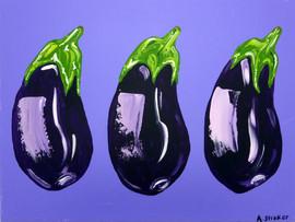 Aubergines on purple