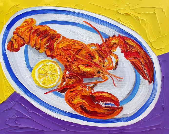Lobster & Lemon on Cornish Plate (framed)