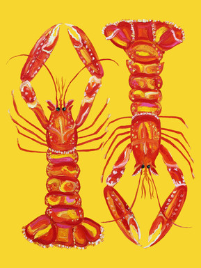 Langoustines On Yellow Art Print