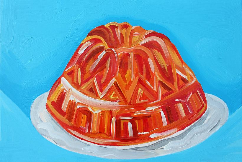 Wobbly Orange Jelly Painting