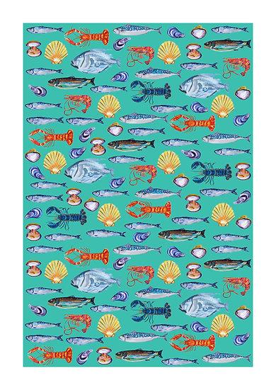 Fish Wallpaper on Turquoise Art Print