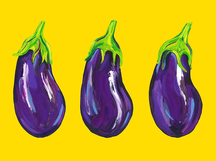5 x Aubergines Postcards