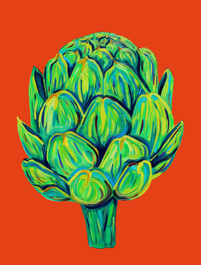 Artichoke on Orange (commission