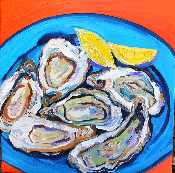 Gorgeous Plate of Oysters Painting