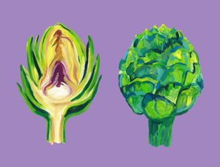 Artichokes on purple