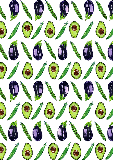 Aubergine, Pea and Avocado tea towel