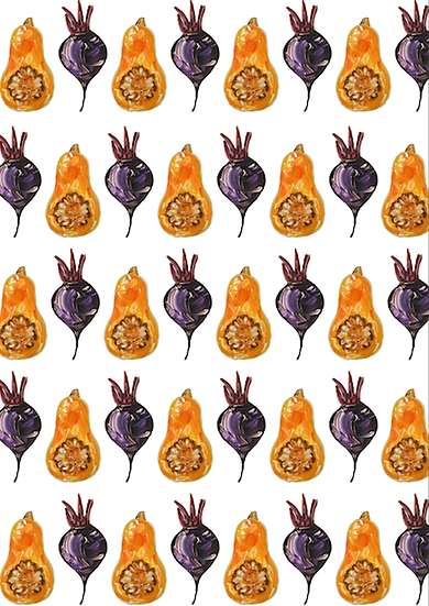 Beetroot and Butternut Squash tea towel