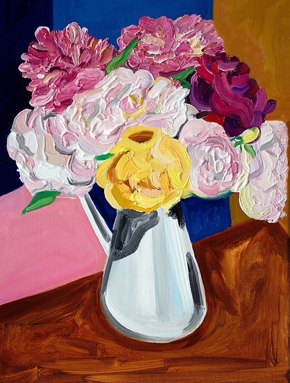 Peonies and Roses Still Life Painting