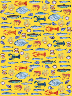Fish Wallpaper Yellow Art Print