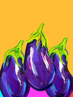 Awesome Aubergines Art Print
