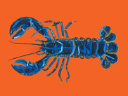 Lobster On Orange Art Print