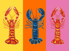 Lobster Langoustines Love Art Print