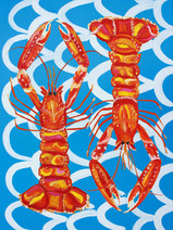Langoustines On Blue Wavey Art Print