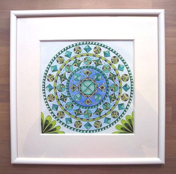 Blau-grünes Mandala