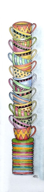 Lesezeichen Muster Tassen