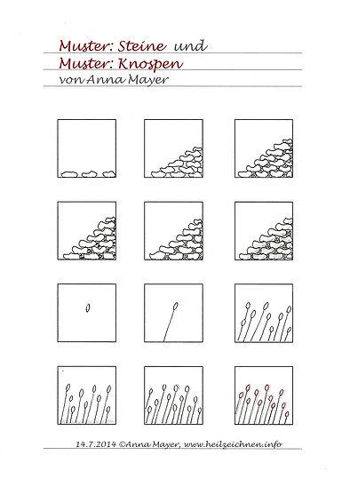 Muster: Steine und Knospen
