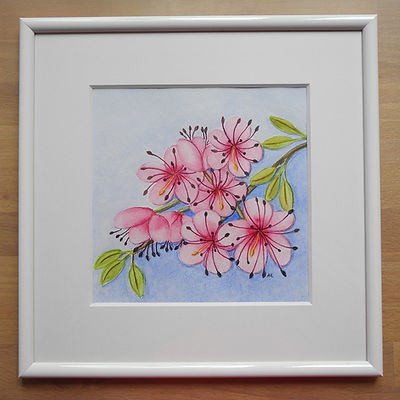 Kirschblüte Aquarellca. 20 x 20 cm