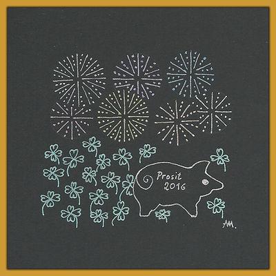 Muster Glücksklee und Feuerwerk