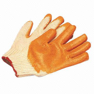 Rubber cotton gloves