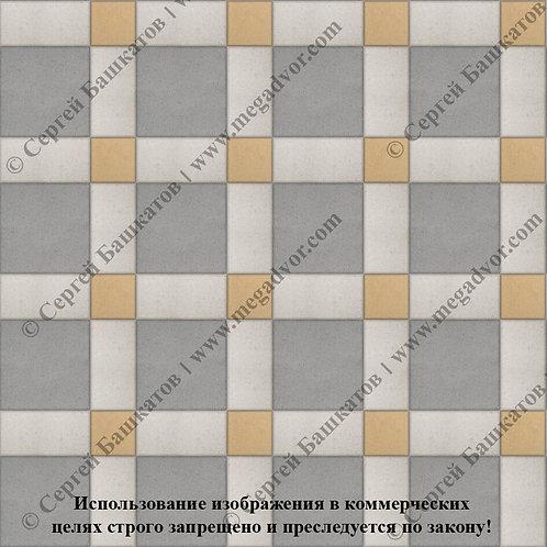 Квадрат 200*200 мм Корзинка (серый, белый, жёлтый)