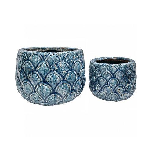 Blue Pineapple Pot