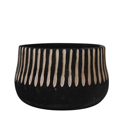 Black Stripe Wood Pot