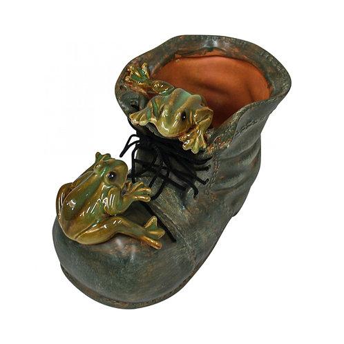 Frogs in Shoe Planter