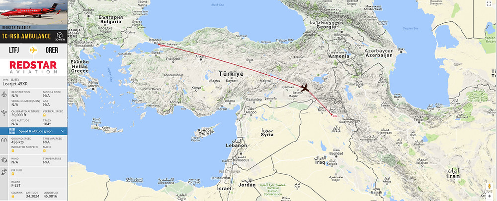 Route from Istanbul to Erbil