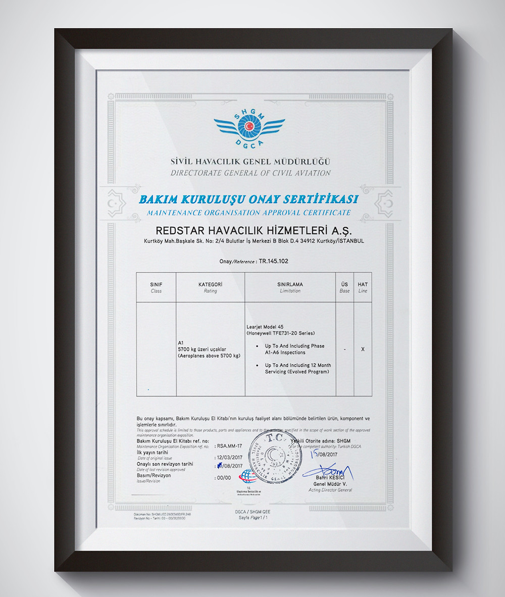 Maintenance Organisation Approval Certificate