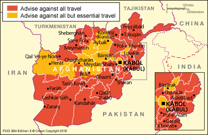 Afghanistan Travel Map