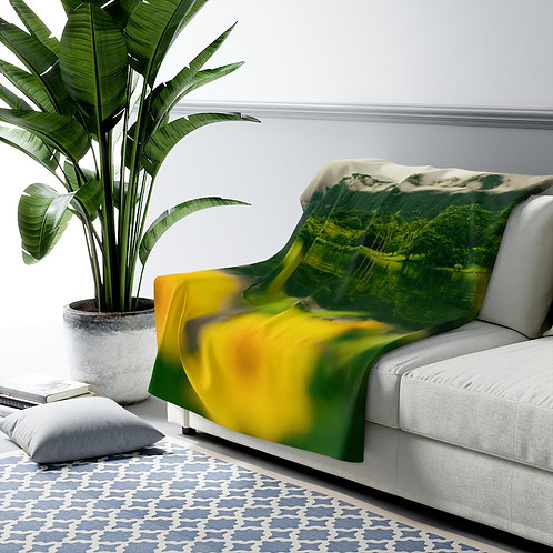 Moody Oahu Botanical Garden- Sherpa Fleece Blanket