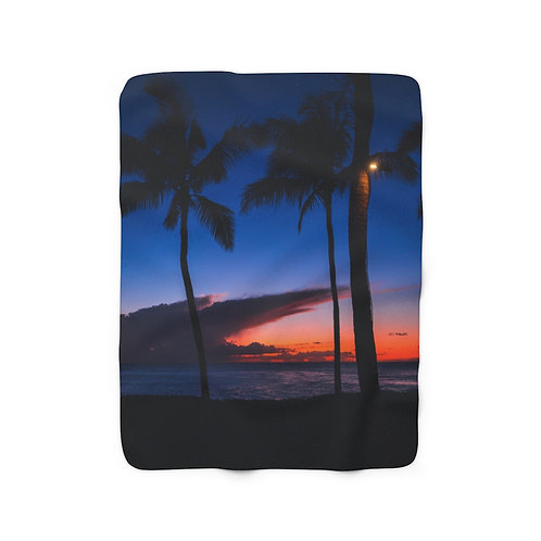 Silhouette palm trees- Sherpa Fleece Blanket