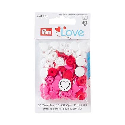 Boutons pression Prym Colors Snaps Love coeur rouge et blanc - Prym Love