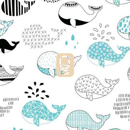 Coton imprimé baleines
