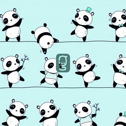 Coton imprimé panda équilibriste