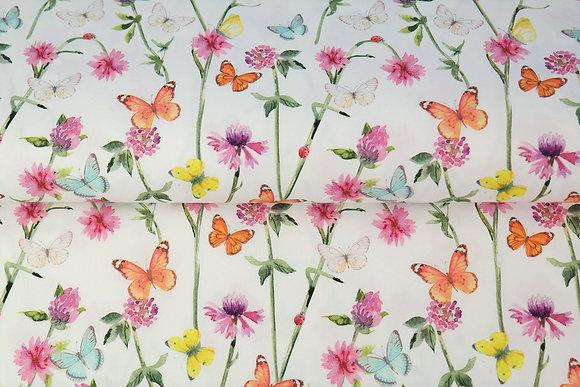 Popeline de coton imprimee Fleurs et Papillons blanc - Stenzo
