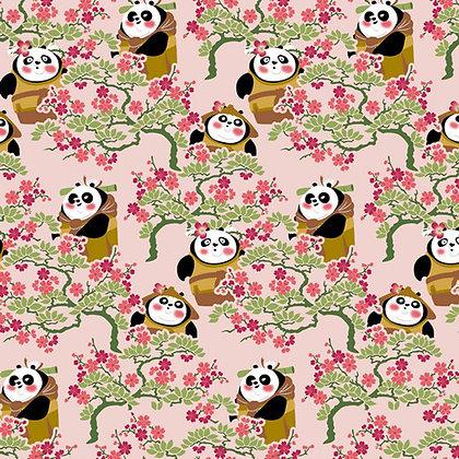 Popeline de Coton Kung Fu Panda Cerisier