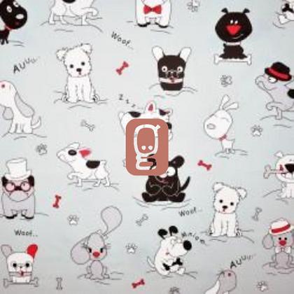 Coton imprimé chiens amusants