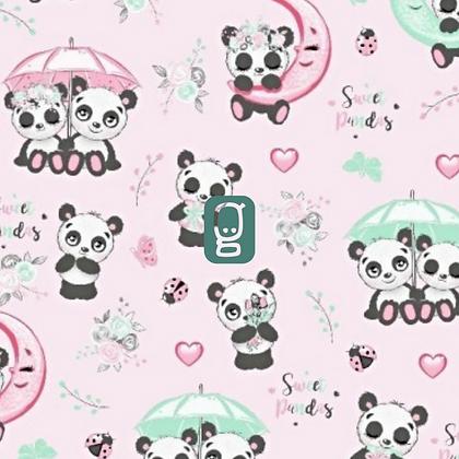 Coton imprimé pandas amoureux