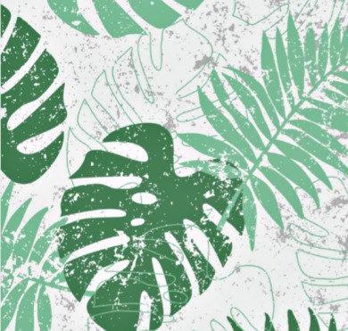 Tissu enduit motif feuilles de palmier