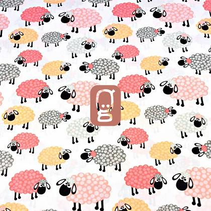 Coton imprimé moutons