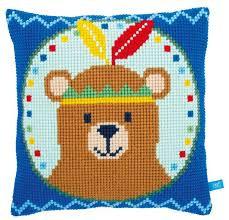 Kit au point de croix Canevas - L'ours indien