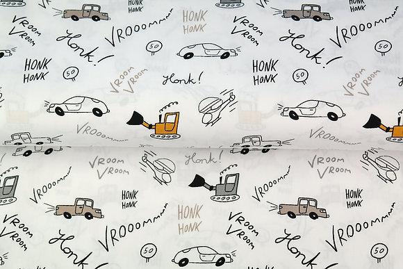 Popeline de coton imprimee Vehicules de chantier Moutarde - Stenzo