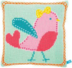Kit au point de croix Canevas - Oiseau rose