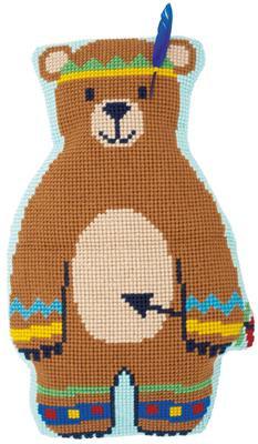 Kit coussin modelé au point de croix - L'ours indien