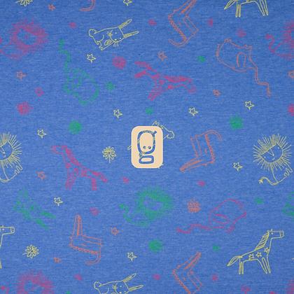 Jersey imprimé animaux jungle fond bleu