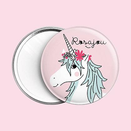 Miroir de poche licorne Rosajou