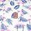 Thumbnail: Coton imprimé flamand rose-feuille bleue