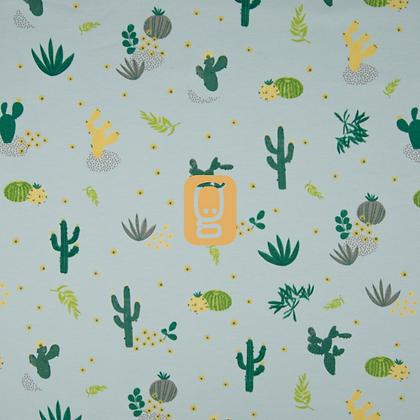 Jersey de coton imprimé cactus menthe